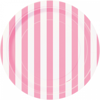 Lovely Pink and White Striped Plate/ 7