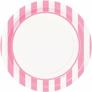 "Lovely Pink and White Striped Plates/ 9""/ 8 Pack/ Luncheon"