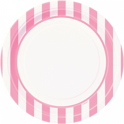 Lovely Pink and White Striped Plates/ 9