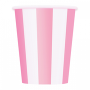Lovely Pink and White Striped Cups/ 9 oz