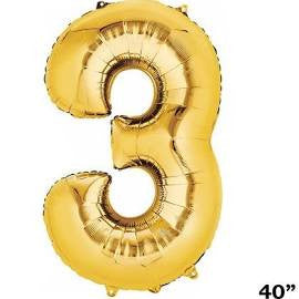 "34"" Gold Number Balloon - 3"