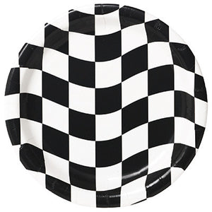 "Black & White Check - 9"" Plates - 8 Count"