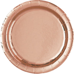 Metallic Rose Gold Party Plates- 8 Count/ 7 inch Dessert Plates