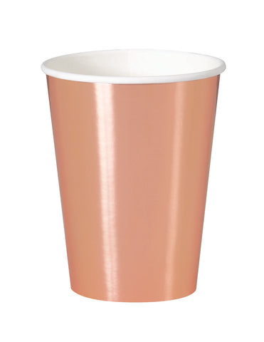 Metallic Rose Gold Party Cups- 8 Count/12 oz.