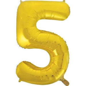 "34"" Gold Number Balloon - 5"