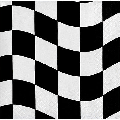 Black & White Check  Lunch Napkins - 18 Count