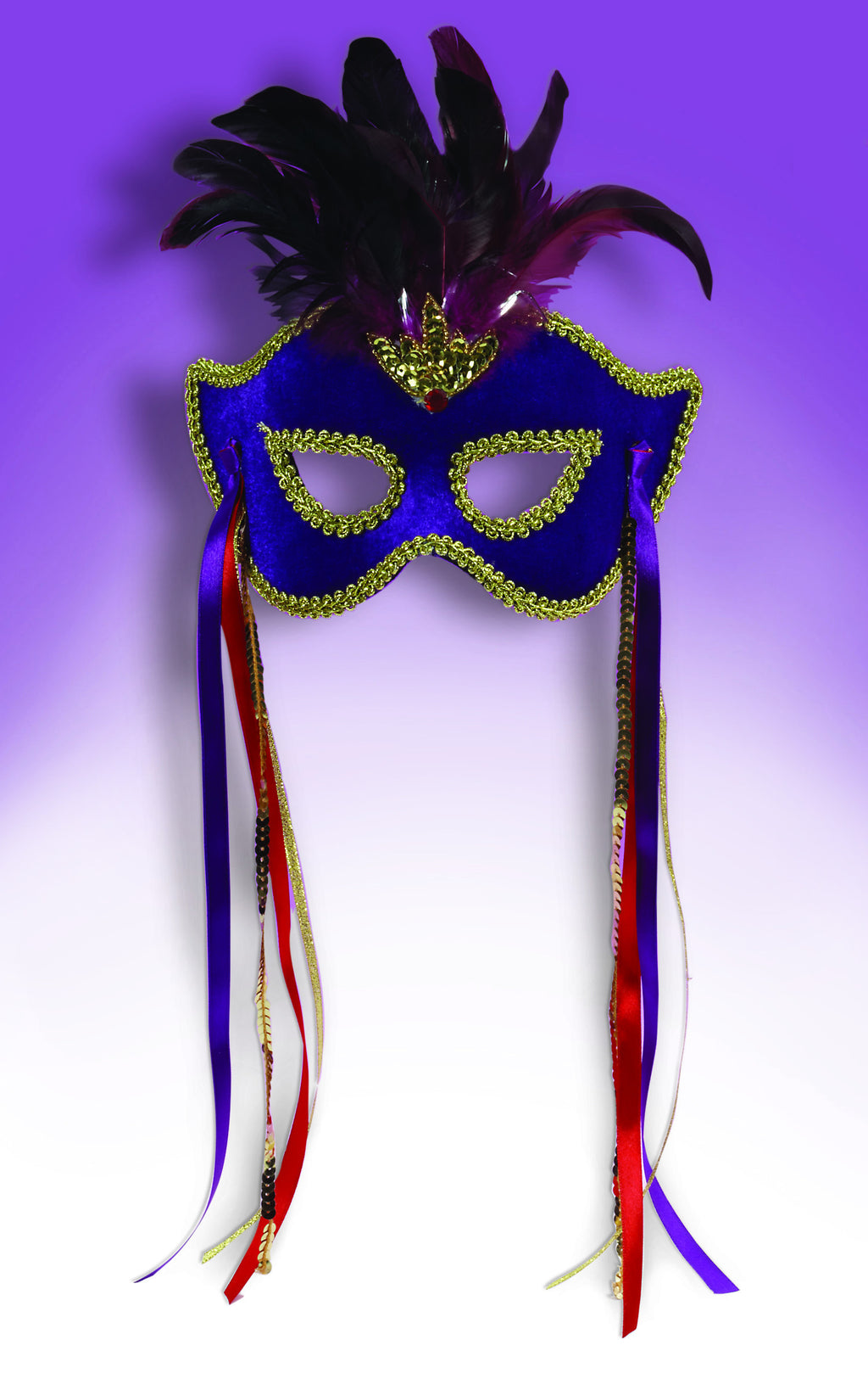 Purple Feathered Mardi Gras Mask
