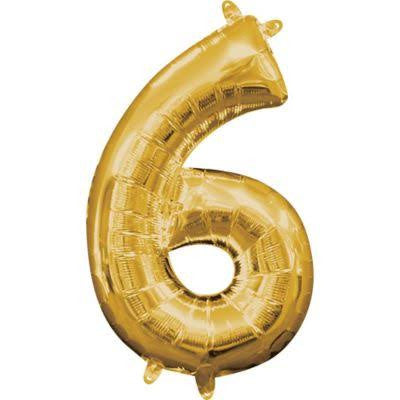 "34"" Gold Number Balloon - 6"