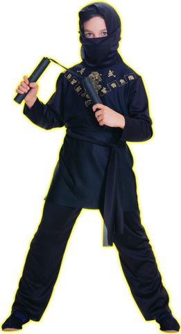 Black & Gold Ninja Kid's Costume