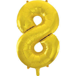 "34"" Gold Number Balloon - 8"