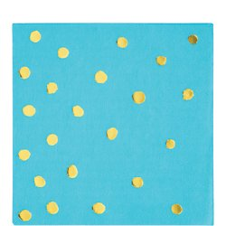 Bermuda Blue and Gold Foil Polka Dot Beverage Napkins/16 Count/3 Ply
