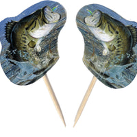 Bass Fishing Cupcake Party Picks