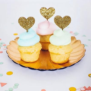 Minds Eye - Golden Heart Cupcake Topper