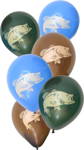 Bass Fishing Latex Balloons 6 Pack