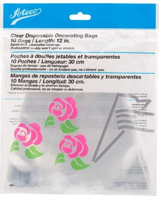"Ateco Clear Disposable Decorating Bag - 12""/ 10 Count"