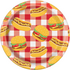 Burger BBQ Dessert Plate/ 8 Count/7 inch.