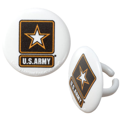 USA Army Cupcake Rings/Party Favors 12 Pack