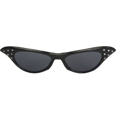 50's Retro Black Rhinestone Sunglasses