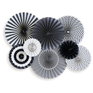 Mind's Eye Party Fan - Black and White 8 Count