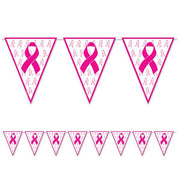 Breast Cancer Awareness Pennant Banner - 12 Feet long