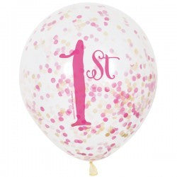 Confetti Balloons - 1st Birthday 6 count