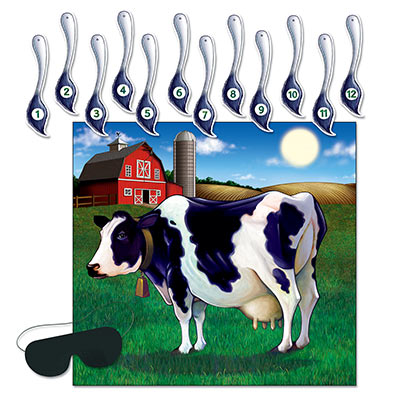 Pin The Tail on the Cow- Farm Game/14 pieces