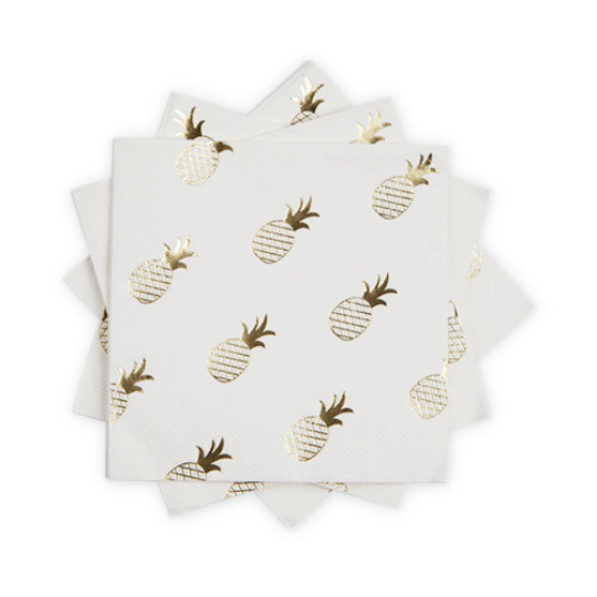 Fancy Gold Foil Pineapple Napkins/ Luncheon/ 20 Count
