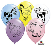 "Qualatex - Farm Animal Assortment - 11"" Latex/5 Count"