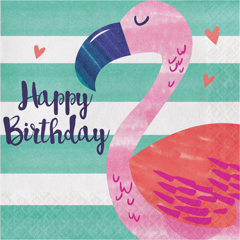 Tropical Flamingo Party Napkins/ Luncheon Napkins/ 16 Count