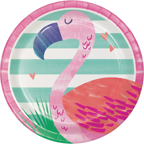 "Tropical Flamingo Party Plate/ 7"" /8 Count"