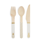 Pineapple Party - Wooden Cutlery/ 24 Pc.