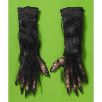 Brown Werewolf Hairy Hands Long Gloves