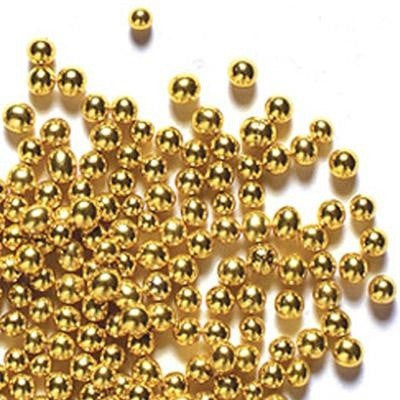 Metallic Gold Sugar Pearl Dragees 8mm  4oz