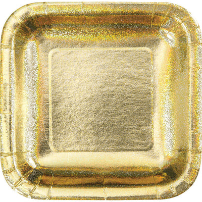 Metallic Gold Party Plates - 8 Count/ 7 inch Dessert Plates