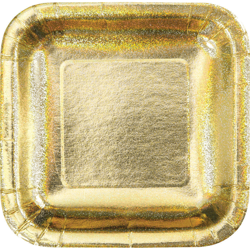 Metallic Gold Party Plates - 8 Count/ 9 inch Dinner Plates