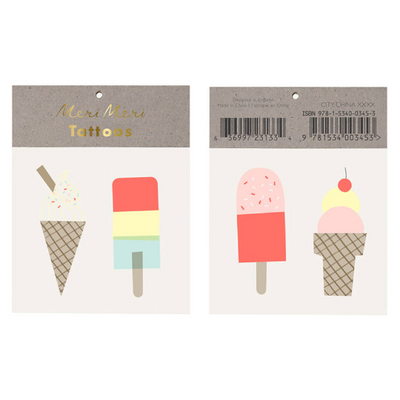 Ice Cream Treat Tattoos/ Temporary Tattoos/