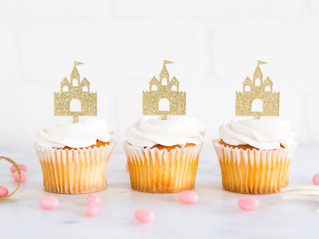 Princess Castle Golden Cupcake Toppers - 8 Count