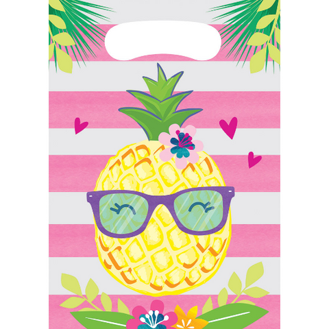 Tropical Pineapple Loot Bags / 8 Count/ 6.5 inch x 9 inch