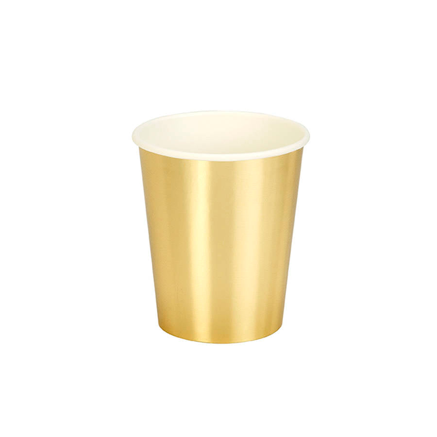 Gold Metallic Paper Cups/10 Count/12 oz.