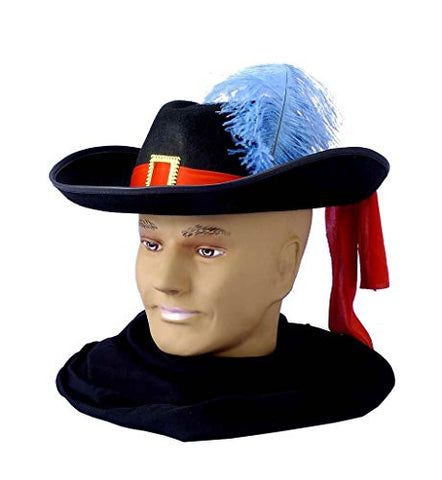 Black Adult Musketeer Hat with Feather