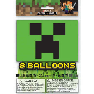 Minecraft Party Latex Balloons 8 Count
