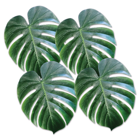"Tropical Palm Fabric Leaves/ 4 Count/ 11.5"" x 13"""