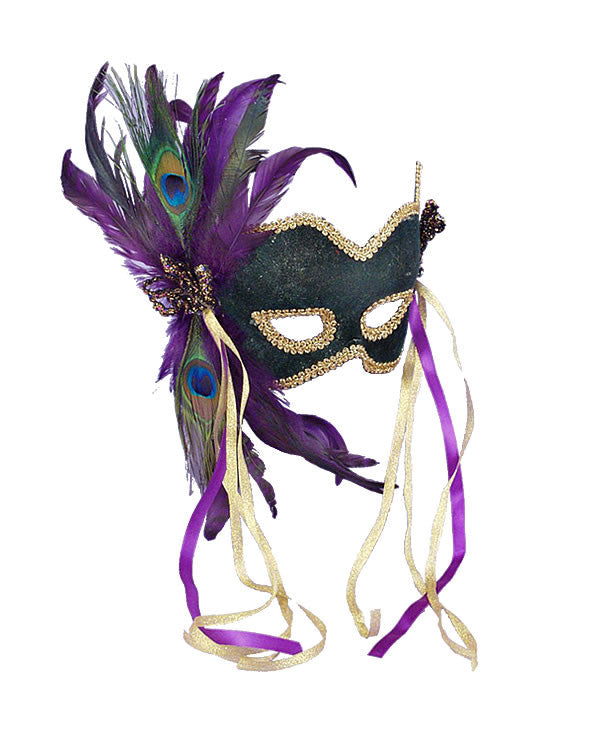 Peacock Feather Green Mardi Gras Mask