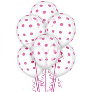 Clear Pink Polka Dot Balloon - 6 count