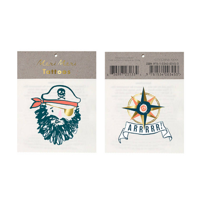 Pirate Tattoo/ Temporary Tattoo/ 2 Pack