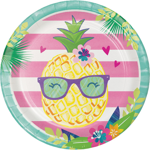 Tropical Pineapple Plates/ 8 Count/ 9""