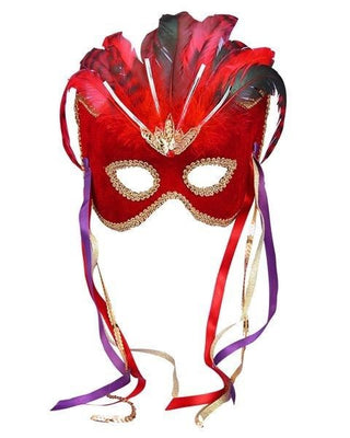 Red Fancy Feathered Mardi Gras Mask