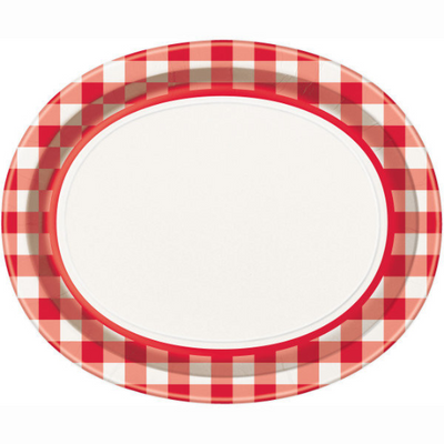 Red Gingham Oval Platters/ 8 Count