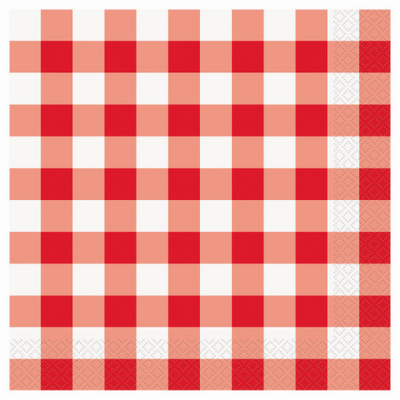 Red Gingham Dinner Napkins/ 16 Count