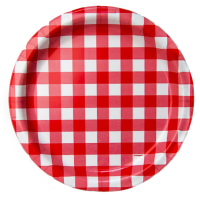 Red Gingham Luncheon Plates/ 8 Count/ 9inch